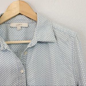 Loft Blue and White Chambray Button Down Tunic